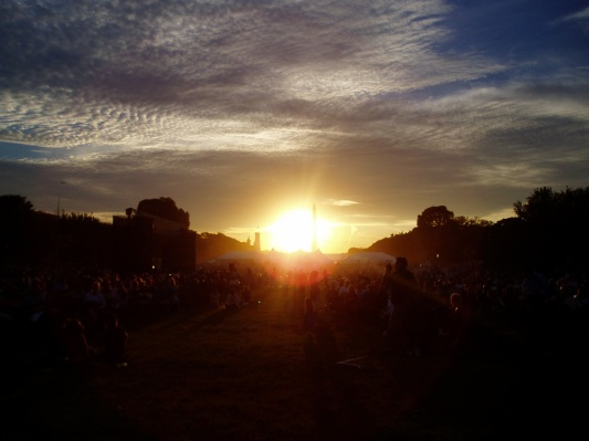 The beginning of the magnificent sunset on the Mall the day the Smithsonian's National Museum of the American Indian.
